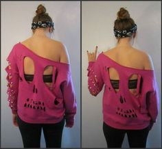 skull cut out shirt, must learn how to do this!