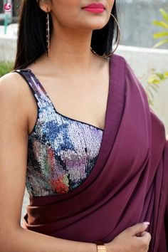 Buy Wine Satin Saree Online in India New Saree Blouse Designs, Saree Jacket Designs, Choli Designs, Dress Designs, Saree Wearing Styles, Bollywood Designer Sarees, Satin Saree, Stylish Blouse Design, Stylish Sarees