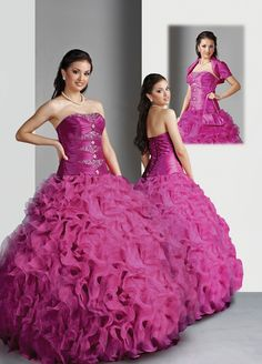 Ball Gown Strapless Ruffled Beading Organza Floor-length Quinceanera Dress at sweetquinceaneradress.com