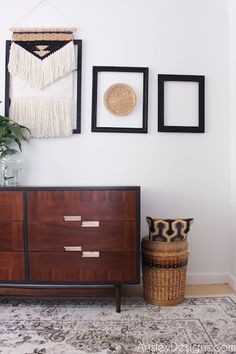 Funky two tone Mid Century Modern Dresser Makeover Indoor Pillow, Painted Furniture, Dresser Makeover, Refinishing Furniture, Pillow Room, Affordable Home Decor, Home Decor, Diy Pillows, Vintage Furniture