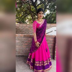 20 Ideas Fashion Design Projects For Kids Diy Clothes Lehenga Saree Design, Half Saree Lehenga, Lehnga Dress, Saree Look, Lehenga Designs, Anarkali, Kids Lehenga, Lehenga Blouse, Indian Lehenga
