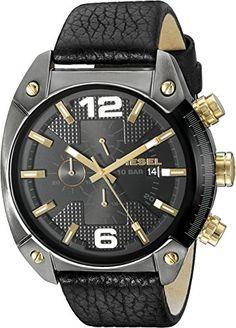 0f409213ae9 Diesel Men s Overflow Gunmetal Black Leather Watch Clout Wear