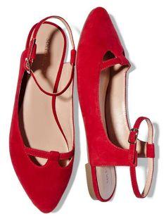 Red Slingback Flats ♡