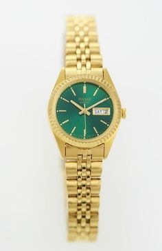 Pulsar Watch Womens Day Date Stainless Gold Steel Water Resistant Green Quartz