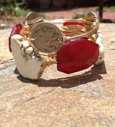 The Florida State Seminoles Stack - Wire Wrapped Indian Head Nickle, Crimson Acrylic, & White Turquoise Bangle Bracelet