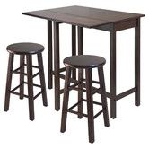 """Found it at Wayfair - Lynnwood 3 Piece Counter Height Pub Table Set Table: 35.43"""" H x 30"""" W x 39.37"""" D Stool: 13.4"""" W x 13.4"""" D Depth : 20.7""""( without leaf) Leaf up: 39.37"""" W x 30"""" D. Leaf down:39.37"""" W x 20.7"""" D. Tabletop Thickness: 0.78"""" Maximum Stool Height - Top to Bottom: 24.2"""" Overall Product Weight: 49lbs $190"""