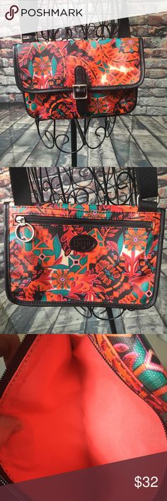 Fossil Purse Bright Floral Design Small Small Fossil Purse Bright Floral Design.     Very clean zipper pockets.  Magnetic front buckle closure. Fossil Bags Shoulder Bags