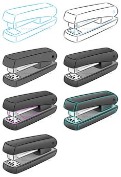 How To Draw A Cartoon Stapler - Stapler Drawing Perspective Drawing Lessons, Perspective Art, Cute Cartoon Images, Simple Cartoon, Pencil Art Drawings, Art Drawings Sketches, Face Line Drawing, Composition Drawing, Face Collage