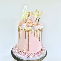 Rose Gold Vibes For Fabulous Forty Cake Topper By The Lovely London Sparkle Eventdecor