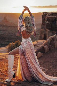 24 Cowgirl Boots Wedding Ideas For Country Celebration ❤ cowgirl boots wedding ideas a line gypsy boho colored ruedeseine #weddingforward #wedding #bri #weddingoutfit #bridaloutfit #weddinggownde