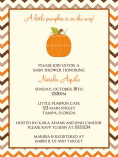 Little Pumpkin Baby Shower Invitations,  Chevron Stripes Fall Pumpkin Theme, Set of 10 Printed Cards and Envelopes, Free Shipping