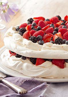 Berry Pavlova-Layers of sweetened cream cheese and mixed berries ...