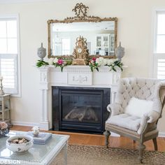Sometimes it just takes one new piece to make an impact in a room. This French style chair adds a note of authority to the fireside, while the mantel is dressed for spring. French Country Colors, French Country Living Room, French Cottage, French Country Decorating, Romantic Cottage, French Style Chairs, Red Shutters, Cottage Living Rooms, 1940s Living Room