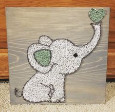 Elephant String Art, nursery - order from KiwiStrings on Etsy! www.kiwistrings.etsy.com