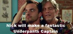 """""""Nick will make a fantastic Underpants Captain."""" This moment was so wonderfully horrible! The New Girl New Girl Season 1, New Girl Episodes, New Girl Funny, Best Horror Stories, New Girl Tv Show, Snl News, Nick And Jess, New Girl Quotes, Jake Johnson"""