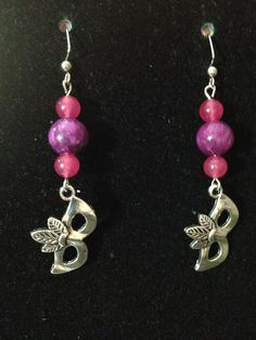 Purple and Magenta Masquerade Mask Earrings by queenofqeeks, $8.00