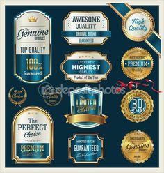 Quality gold and blue retro badges collection Vector Image , Graphic Design Trends, Retro Design, Vintage Labels, Retro Vintage, Typography Design, Logo Design, Neon Words, Gift Certificate Template, Retro Color