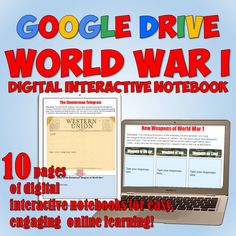 10 fully-editable digital interactive notebook pages on World War 1 for Google Drive! Great for a lesson on World War 1 that integrates technology!