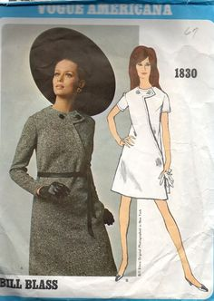 Vogue Americana 1830 Sewing Pattern Bill Blass 1960s Mad Men Style Casual Day Dress Asymmetrical Front Mini A-line Jewel Neck Bust 32
