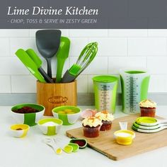 CHOP, TOSS & SERVE IN ZESTY GREEN. Get with the green scheme and shower your kitchen with this zesty collection of colour-popping accessories in a palette of lively light limes. From servingware to prep tools, everything is gloriously green and from renowned kitchen brands, Contento, Joseph Joseph or Chef 'n – all known for their fresh and contemporary approach to home design. www.citymob.co.za