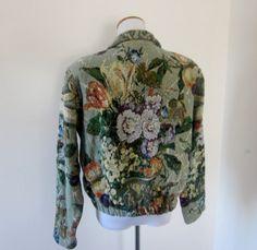 Vintage Tapestry Jacket Floral Cropped Jacket by GroovyGirlGarb, $34.00