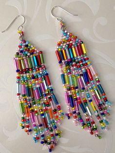 Super Long Beaded Confetti Fringe Seed Bead Earrings - Beadwork Jewelry