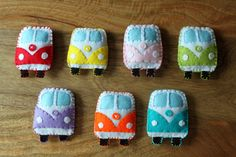 "Felt VW bus. These are the cutest things EVER!!!  In Memory of sweet Sheena she loved VW buses always got a die cast hotrod version for Christmas from ""Santa"""
