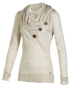 Élégant Bouton col bénitier et manches longues Sweatshirt Design Femmes drapées