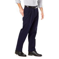 Big & Tall Dockers® Stretch Signature Khaki D3 Classic-Fit Pleated Pants, Blue (Navy)