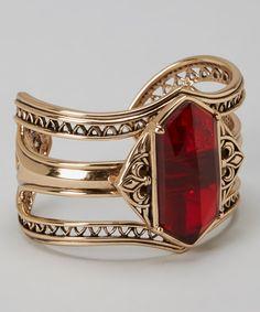 Chic Ruby Red & Bronze Cuff |  bracelets