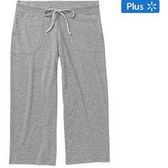 Faded Glory Women's Plus French Terry Sleep Capri Pants with Pockets