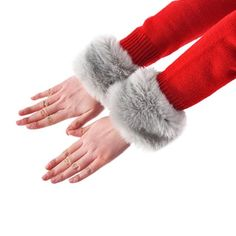 """Faux fur wrist warmers/acce A pair of light gray wrist warmers/accessory, use with a simple outfit or a nice dress for a casual night out, they look a lil pink bc of light but they are light grey, its a """"snap"""" type of style so it will fit any size, NEW Accessories Gloves & Mittens"""