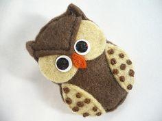 Handmade owl brooch brown and  ivory  $12