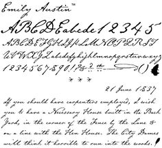 Hard as heck to read, but typeface based off of Emily Austen's handwriting style