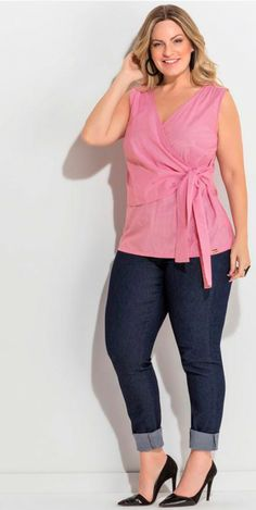 2e35c0cffc Blusa Listrada com Amarração Quintess Plus Size