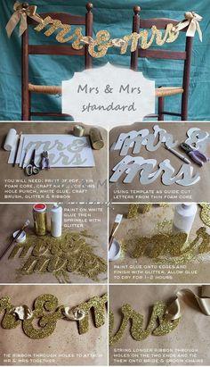 diy Mrs & Mrs standard wedding decorations