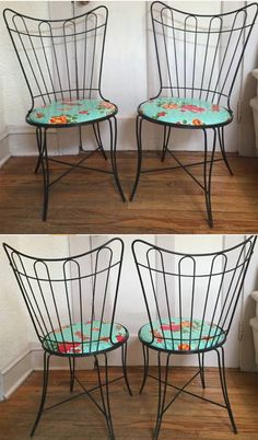 PAIR Of Two 2 MCM Mid Century Wrought Cast Iron Black Garden Patio Chairs  Atomic Homecrest