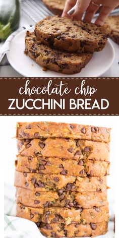 Chocolate Chip Zucchini Bread- a delicious zucchini bread that is moist flavorful and filled with tiny bits of chocolate chips! Its a family favorite and a great way to use up your fresh zucchini! Köstliche Desserts, Delicious Desserts, Dessert Recipes, Yummy Food, Dinner Recipes, Zucchini Bread Recipes, Banana Bread Recipes, Healthy Zucchini Bread, Shredded Zucchini Recipes