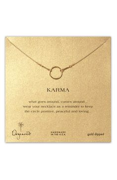 Free shipping and returns on Dogeared 'Reminder - Karma' Boxed Pendant Necklace at Nordstrom.com. Delicate linked necklace is accented by a handcrafted pendant.