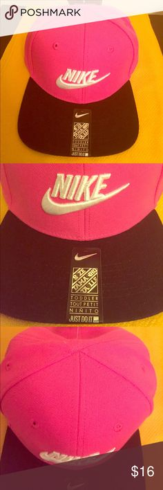 🆕 ONLY 1! Nike Toddler SnapBack Cap Authentic Nike Toddler SnapBack Cap. 2-4T. Unisex. Vivid Pink with Black Bill. Embroidered White Swoosh on the Front Center. Vented. Adjustable Black SnapBack. Partially Lined. 100% Polyester. Brand New. Excellent Condition. No Trades. See other SnapBack Caps that are listed lower in this closet.👍🏼 Nike Accessories Hats