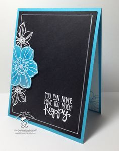 Chalk board technique  white embossing on black cardstock #stampinup #queenbcreations