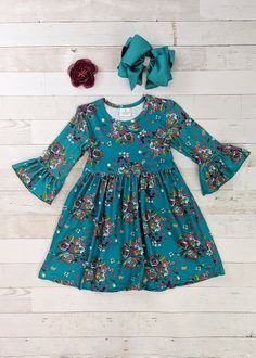 Bold modern floral print bell sleeve dress for girls in teal. Any accessories shown are not included. Toddler Christmas Dress, Toddler Dress, Baby Dress, The Dress, Cute Fall Outfits, Girly Outfits, Kids Outfits, Dress Outfits, Baby Frocks Designs