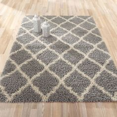 """Shop for Ottomanson Shag Collection Moroccan Trellis Design Area Rug (6'7"""" X 9'3""""). Get free shipping at Overstock.com - Your Online Home Decor Outlet Store! Get 5% in rewards with Club O!"""