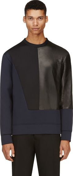 Costume National - Navy & Black Neoprene Pullover
