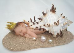 Polymer Clay Art Doll Sculpt - Kelsey | ... Pixie Sleeping Shell Baby Mermaid Art Doll Polymer Clay Sculpt | eBay