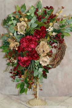 Floral Wreath in Burgundy and Tan Floral by SouthernCharmFlorals, $58.95
