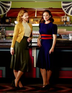 Love the green skirt with mustard cardigan Agent carter tv show