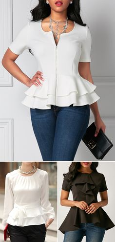 flouncing blouses, flouncing blouse, peplum tops, peplum waist tops.
