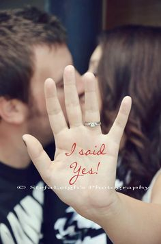 """I said Yes!"" photoshopped photo for Save the Date. #SaveTheDate #WeddingPhotos"