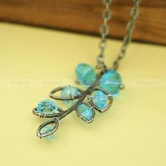 Antique brass aqua crystal charm necklace, gift for friends by mosnos